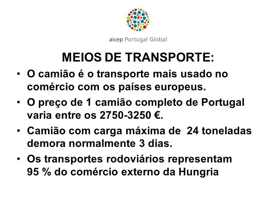 MEIOS DE TRANSPORTE: O camião é o transporte mais usado no comércio com os países europeus. O preço de 1 camião completo de Portugal varia entre os 27