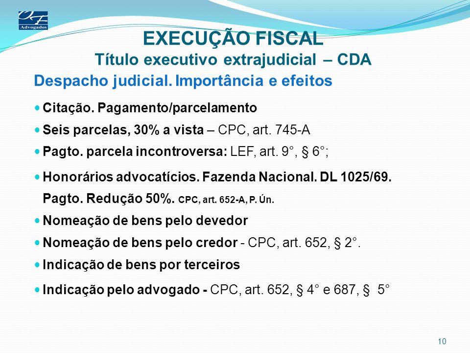 EXECUÇÃO FISCAL Título executivo extrajudicial – CDA Despacho judicial. Importância e efeitos Citação. Pagamento/parcelamento Seis parcelas, 30% a vis