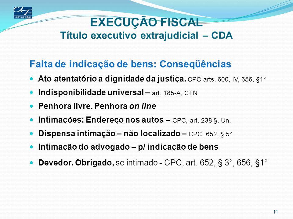 EXECUÇÃO FISCAL Título executivo extrajudicial – CDA Falta de indicação de bens: Conseqüências Ato atentatório a dignidade da justiça. CPC arts. 600,