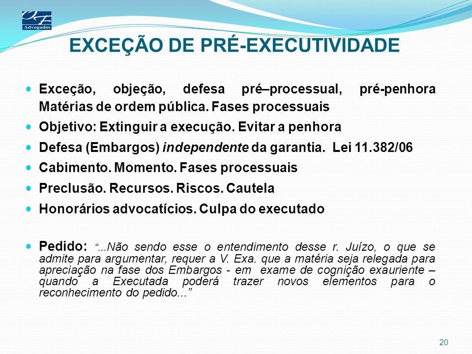 EXCEÇÃO DE PRÉ-EXECUTIVIDADE Exceção, objeção, defesa pré–processual, pré-penhora Matérias de ordem pública. Fases processuais Objetivo: Extinguir a e