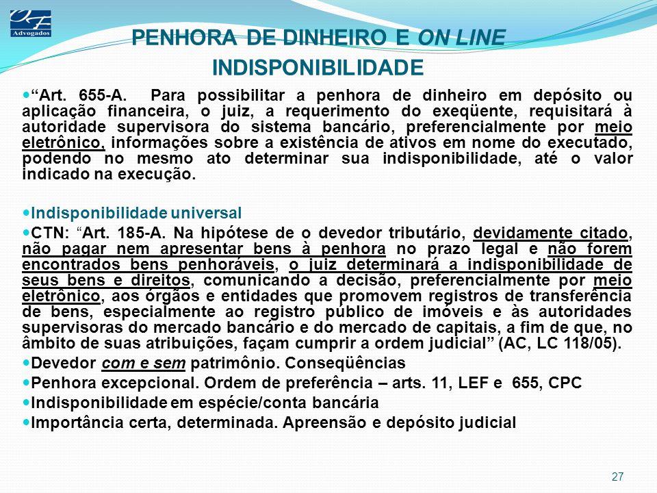 PENHORA DE DINHEIRO E ON LINE INDISPONIBILIDADE Art. 655-A. Para possibilitar a penhora de dinheiro em depósito ou aplicação financeira, o juiz, a req