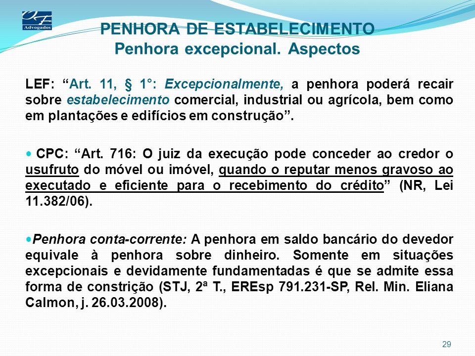 PENHORA DE ESTABELECIMENTO Penhora excepcional. Aspectos LEF: Art. 11, § 1°: Excepcionalmente, a penhora poderá recair sobre estabelecimento comercial