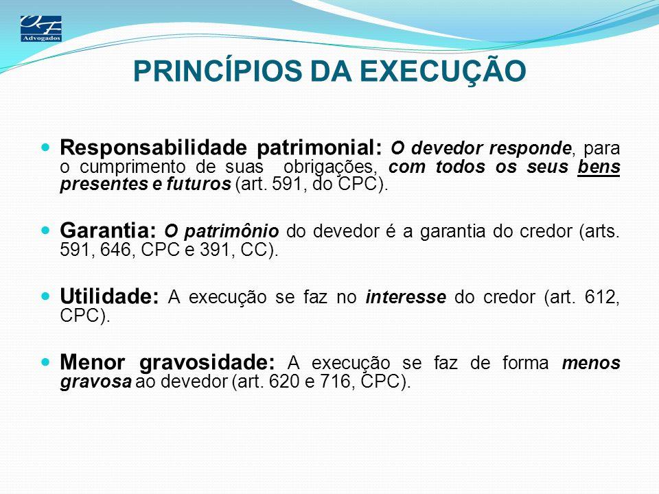 PRINCÍPIOS DA EXECUÇÃO Responsabilidade patrimonial: O devedor responde, para o cumprimento de suas obrigações, com todos os seus bens presentes e fut