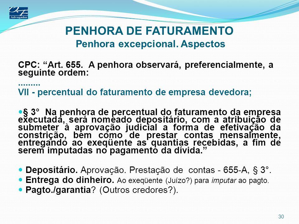 PENHORA DE FATURAMENTO Penhora excepcional. Aspectos CPC: Art. 655. A penhora observará, preferencialmente, a seguinte ordem:......... VII - percentua