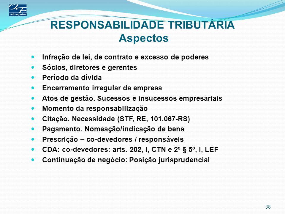RESPONSABILIDADE TRIBUTÁRIA Aspectos Infração de lei, de contrato e excesso de poderes Sócios, diretores e gerentes Período da dívida Encerramento irr