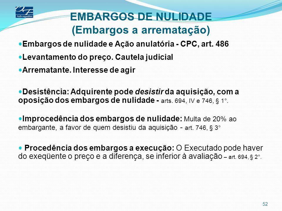 EMBARGOS DE NULIDADE (Embargos a arrematação) Embargos de nulidade e Ação anulatória - CPC, art. 486 Levantamento do preço. Cautela judicial Arrematan