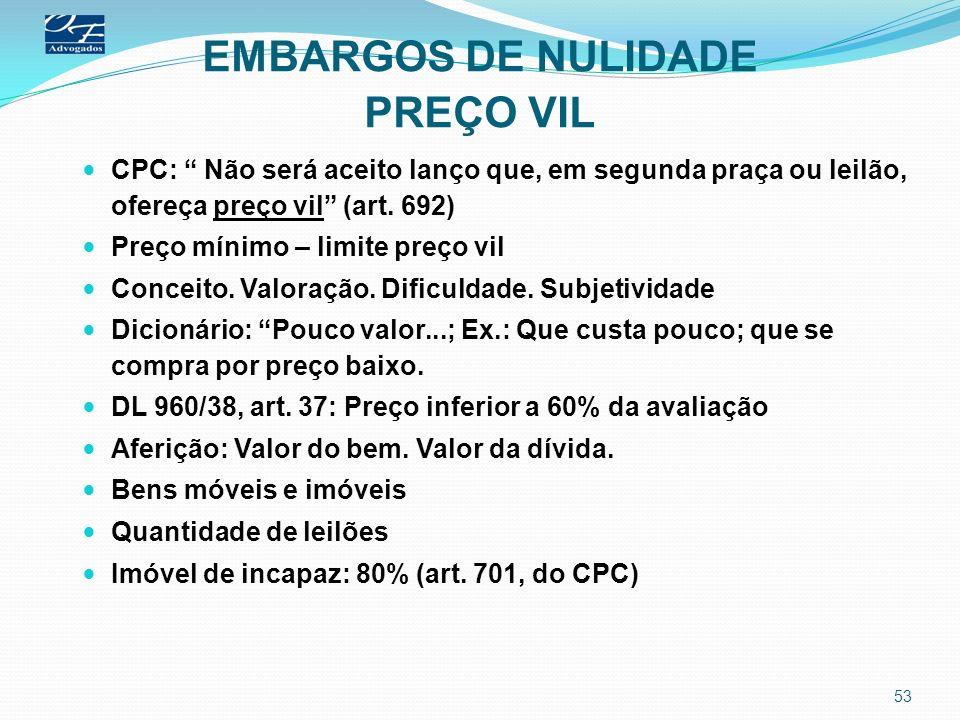 EMBARGOS DE NULIDADE PREÇO VIL CPC: Não será aceito lanço que, em segunda praça ou leilão, ofereça preço vil (art. 692) Preço mínimo – limite preço vi