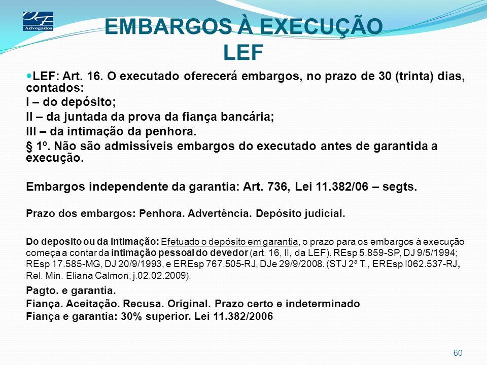 EMBARGOS À EXECUÇÃO LEF LEF: Art. 16. O executado oferecerá embargos, no prazo de 30 (trinta) dias, contados: I – do depósito; II – da juntada da prov
