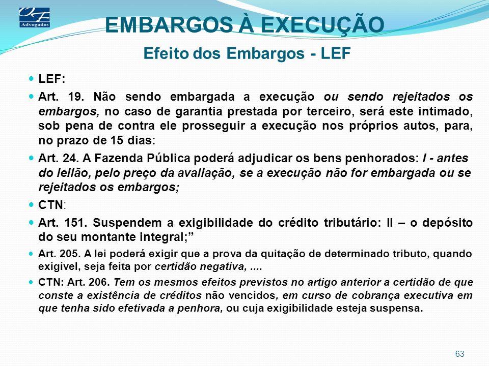 EMBARGOS À EXECUÇÃO Efeito dos Embargos - LEF LEF: Art. 19. Não sendo embargada a execução ou sendo rejeitados os embargos, no caso de garantia presta