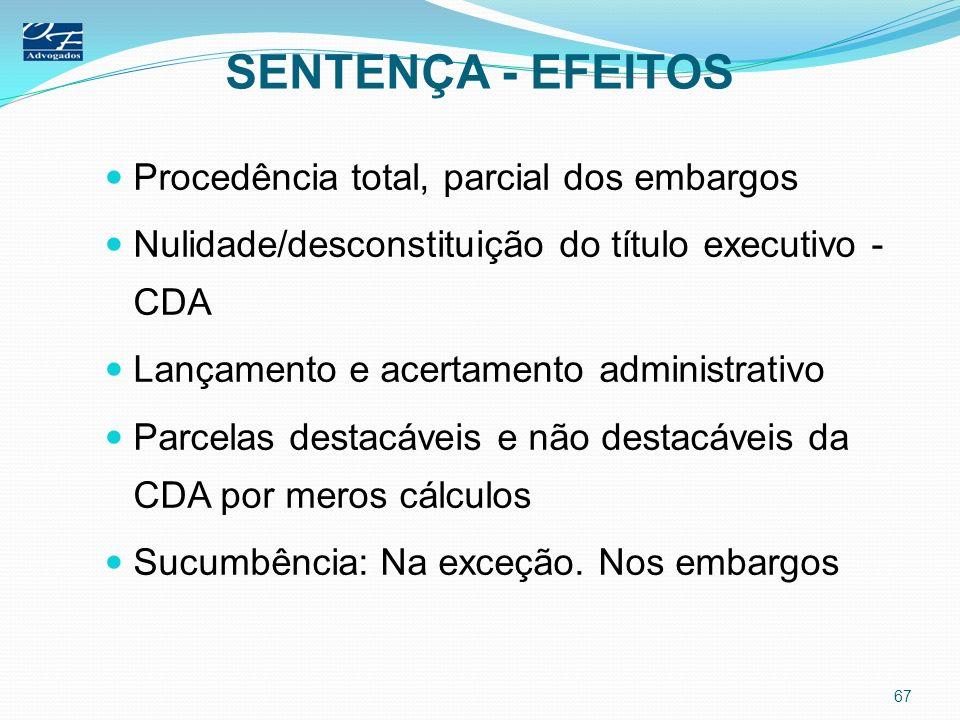SENTENÇA - EFEITOS Procedência total, parcial dos embargos Nulidade/desconstituição do título executivo - CDA Lançamento e acertamento administrativo