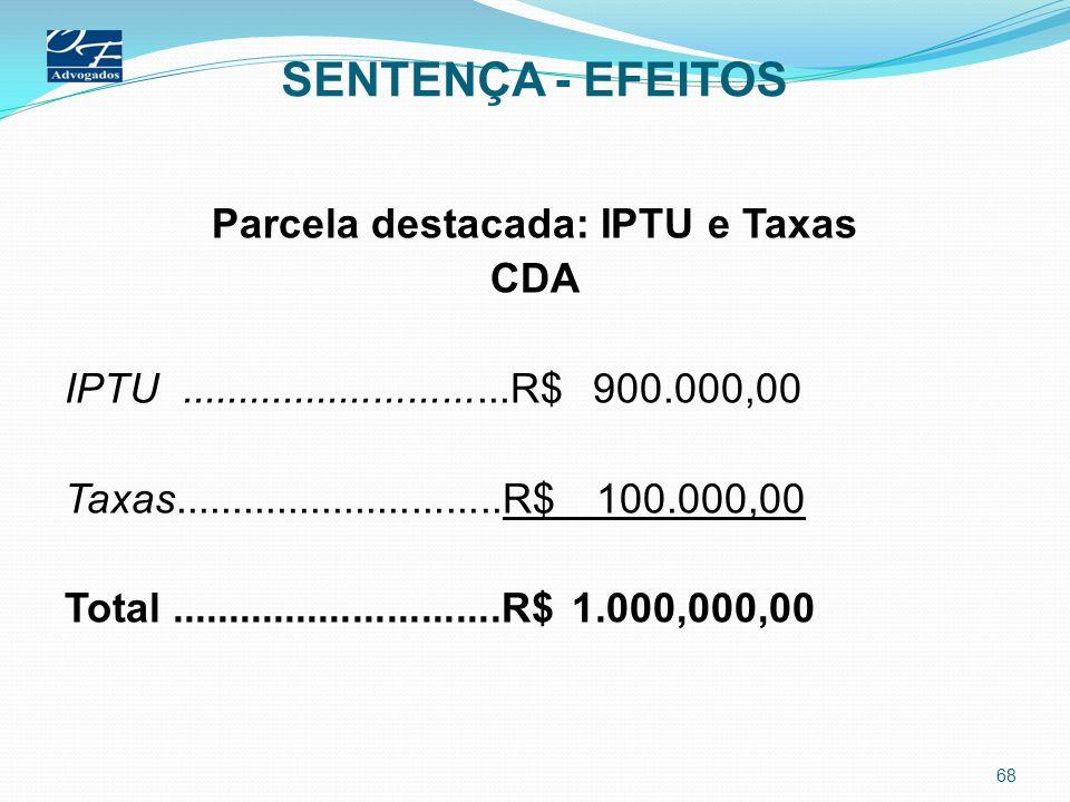 SENTENÇA - EFEITOS Parcela destacada: IPTU e Taxas CDA IPTU.............................R$ 900.000,00 Taxas.............................R$ 100.000,00