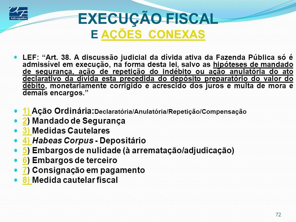 EXECUÇÃO FISCAL E AÇÕES CONEXASAÇÕES CONEXAS LEF: Art. 38. A discussão judicial da dívida ativa da Fazenda Pública só é admissível em execução, na for