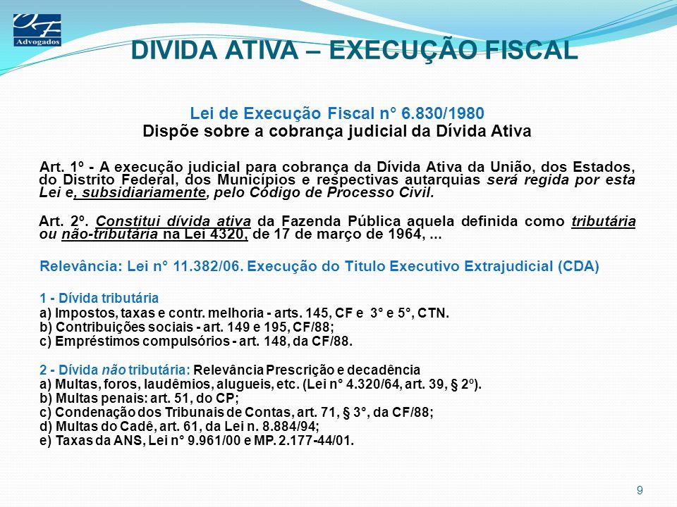 DIVIDA ATIVA – EXECUÇÃO FISCAL Lei de Execução Fiscal n° 6.830/1980 Dispõe sobre a cobrança judicial da Dívida Ativa Art. 1º - A execução judicial par