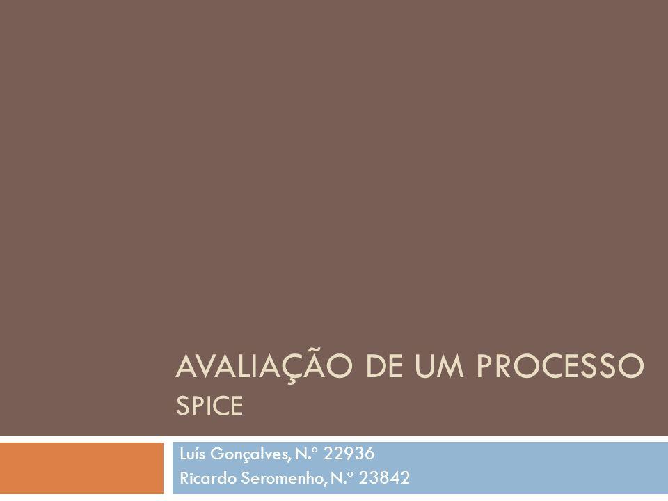AVALIAÇÃO DE UM PROCESSO SPICE Luís Gonçalves, N.º 22936 Ricardo Seromenho, N.º 23842