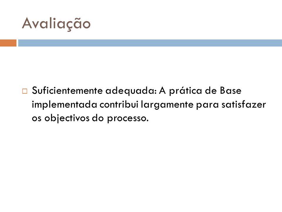 Avaliação Suficientemente adequada: A prática de Base implementada contribui largamente para satisfazer os objectivos do processo.