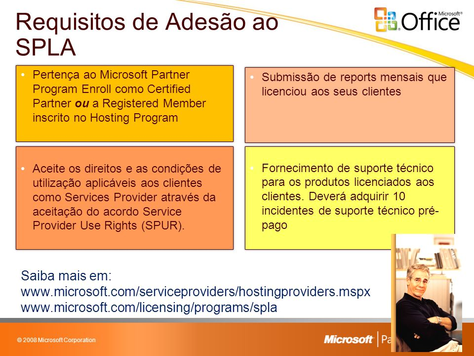 © 2008 Microsoft Corporation Pertença ao Microsoft Partner Program Enroll como Certified Partner ou a Registered Member inscrito no Hosting Program Fornecimento de suporte técnico para os produtos licenciados aos clientes.