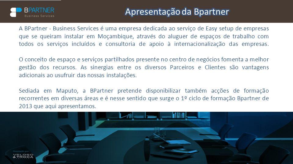 A BPartner - Business Services é uma empresa dedicada ao serviço de Easy setup de empresas que se queiram instalar em Moçambique, através do aluguer d