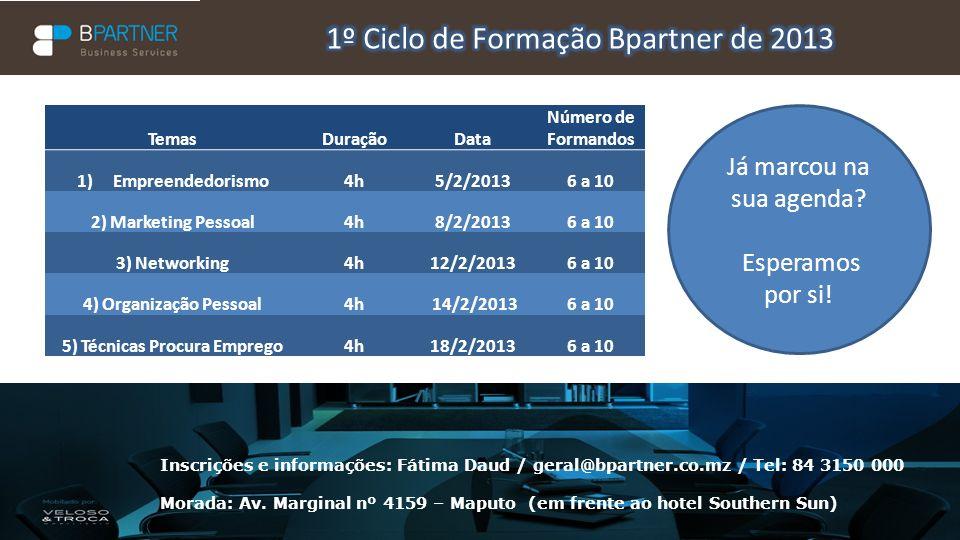 Inscrições e informações: Fátima Daud / geral@bpartner.co.mz / Tel: 84 3150 000 Morada: Av. Marginal nº 4159 – Maputo (em frente ao hotel Southern Sun