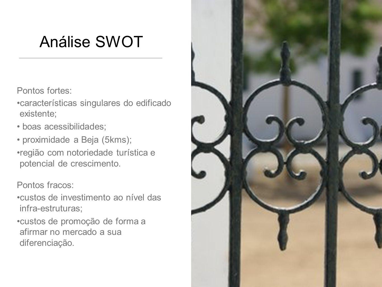 Análise SWOT Pontos fortes: características singulares do edificado existente; boas acessibilidades; proximidade a Beja (5kms); região com notoriedade turística e potencial de crescimento.