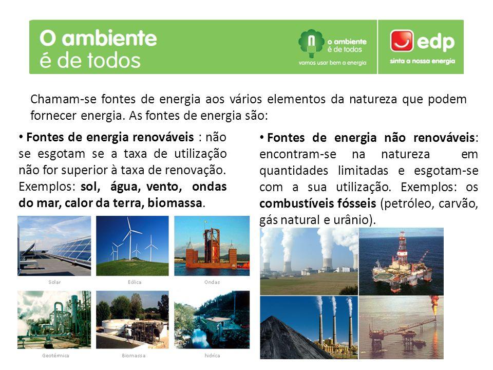 Fontes de energia renováveis : não se esgotam se a taxa de utilização não for superior à taxa de renovação. Exemplos: sol, água, vento, ondas do mar,