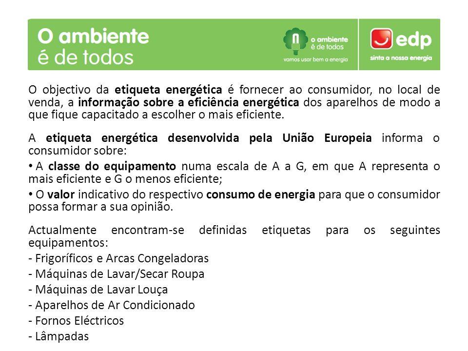 O objectivo da etiqueta energética é fornecer ao consumidor, no local de venda, a informação sobre a eficiência energética dos aparelhos de modo a que