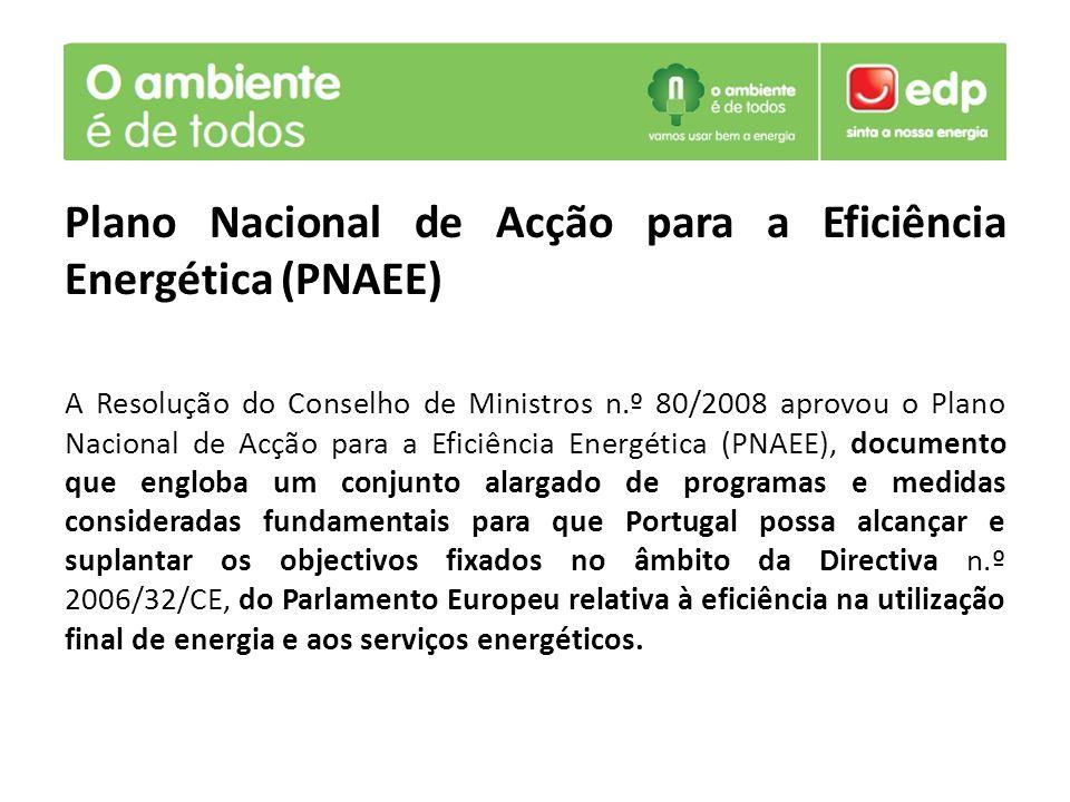 Plano Nacional de Acção para a Eficiência Energética (PNAEE) A Resolução do Conselho de Ministros n.º 80/2008 aprovou o Plano Nacional de Acção para a Eficiência Energética (PNAEE), documento que engloba um conjunto alargado de programas e medidas consideradas fundamentais para que Portugal possa alcançar e suplantar os objectivos fixados no âmbito da Directiva n.º 2006/32/CE, do Parlamento Europeu relativa à eficiência na utilização final de energia e aos serviços energéticos.
