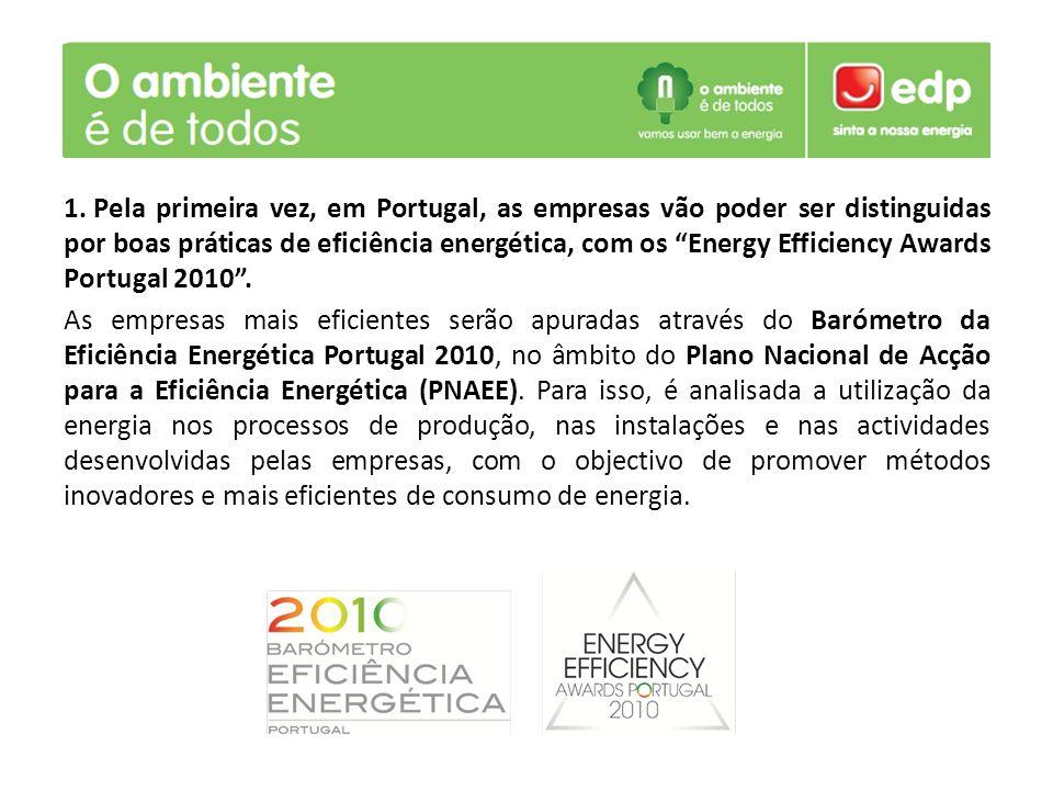 1. Pela primeira vez, em Portugal, as empresas vão poder ser distinguidas por boas práticas de eficiência energética, com os Energy Efficiency Awards