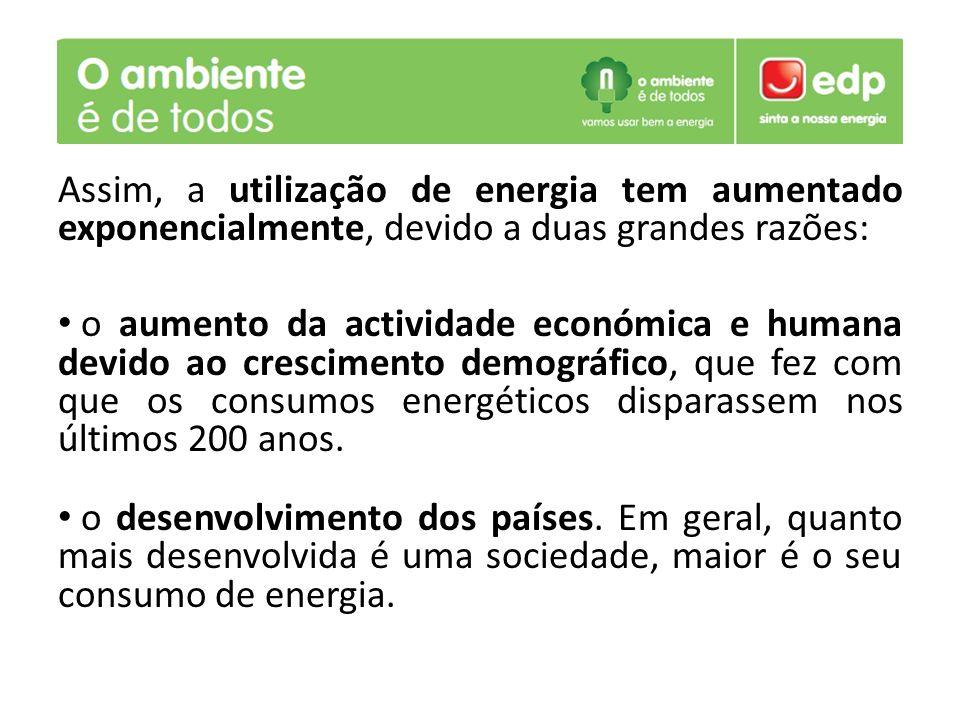 Assim, a utilização de energia tem aumentado exponencialmente, devido a duas grandes razões: o aumento da actividade económica e humana devido ao cres