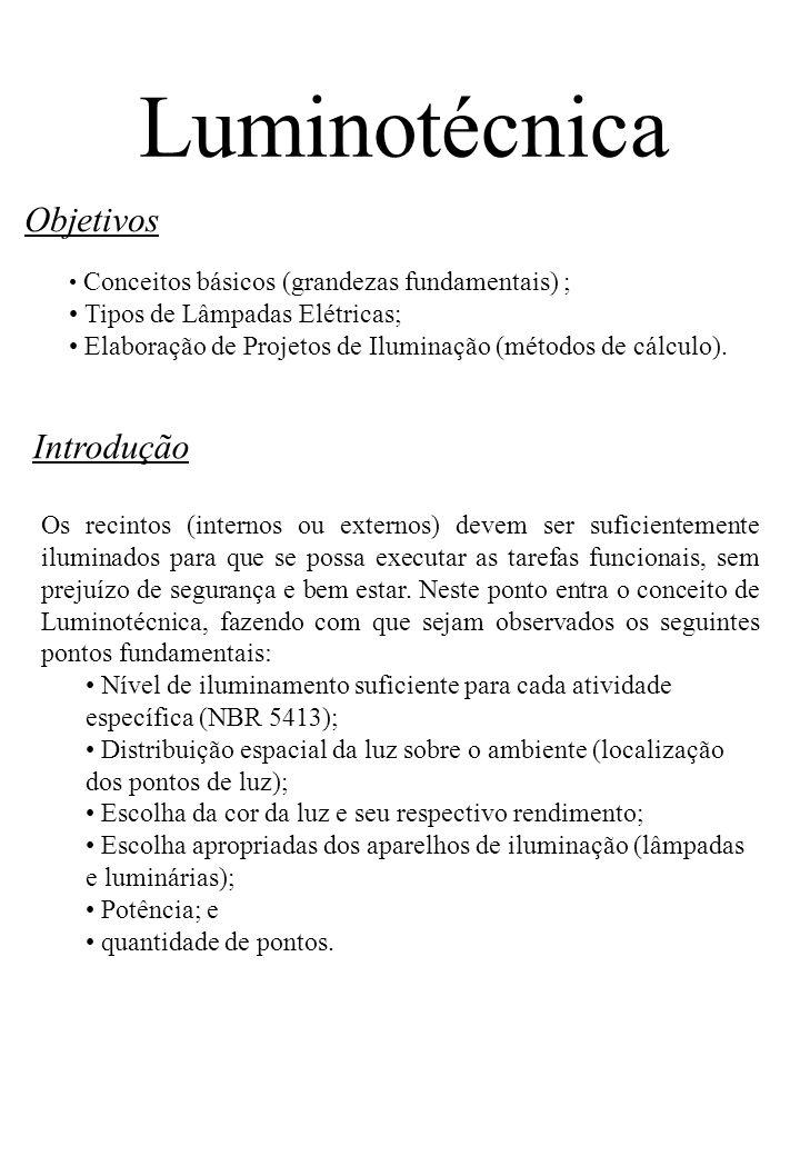 Introdução Objetivos Conceitos básicos (grandezas fundamentais) ; Tipos de Lâmpadas Elétricas; Elaboração de Projetos de Iluminação (métodos de cálcul