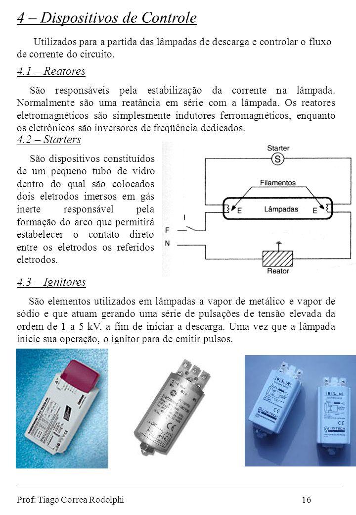 4.1 – Reatores São responsáveis pela estabilização da corrente na lâmpada. Normalmente são uma reatância em série com a lâmpada. Os reatores eletromag