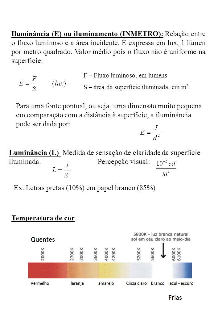 Iluminância (E) ou iluminamento (INMETRO): Relação entre o fluxo luminoso e a área incidente. É expressa em lux, 1 lúmen por metro quadrado. Valor méd