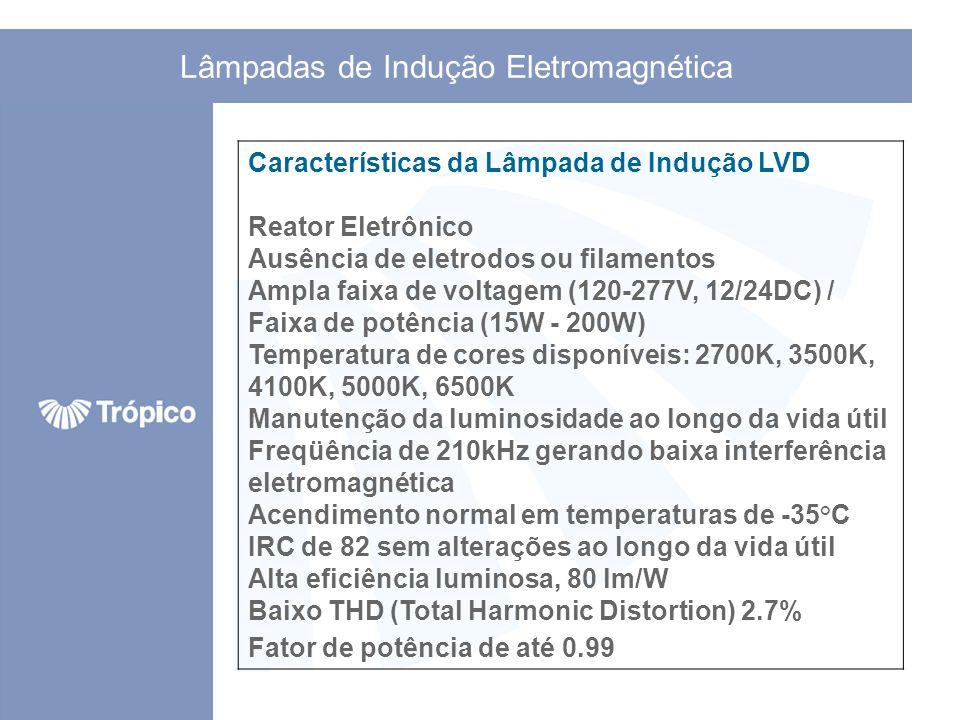 Lâmpadas de Indução Eletromagnética Características da Lâmpada de Indução LVD Reator Eletrônico Ausência de eletrodos ou filamentos Ampla faixa de vol
