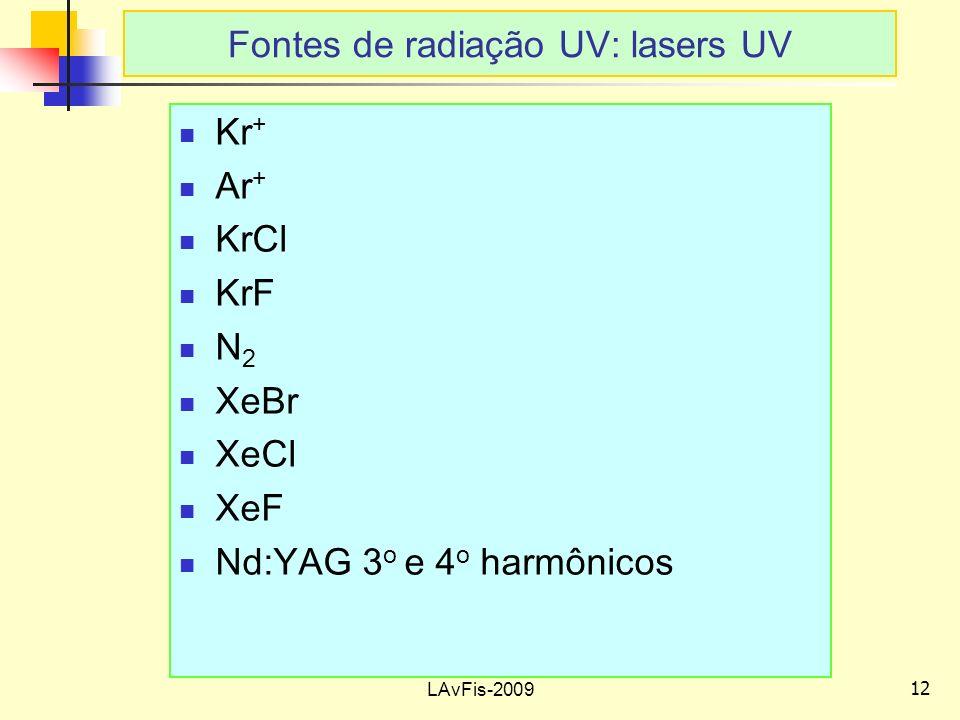 12 LAvFis-2009 Kr + Ar + KrCl KrF N 2 XeBr XeCl XeF Nd:YAG 3 o e 4 o harmônicos Fontes de radiação UV: lasers UV
