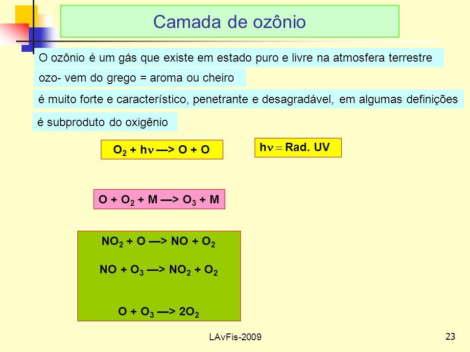 23 LAvFis-2009 Camada de ozônio O 2 + h > O + O O + O 2 + M > O 3 + M NO 2 + O > NO + O 2 NO + O 3 > NO 2 + O 2 O + O 3 > 2O 2 O ozônio é um gás que existe em estado puro e livre na atmosfera terrestre ozo- vem do grego = aroma ou cheiro é muito forte e característico, penetrante e desagradável, em algumas definições é subproduto do oxigênio h Rad.