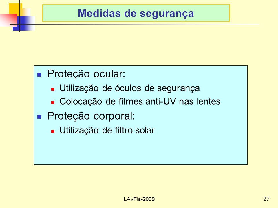 27 LAvFis-2009 Medidas de segurança Proteção ocular: Utilização de óculos de segurança Colocação de filmes anti-UV nas lentes Proteção corporal: Utilização de filtro solar