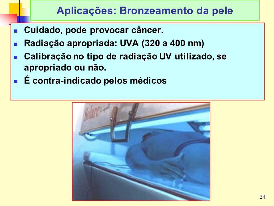 34 LAvFis-2009 Aplicações: Bronzeamento da pele Cuidado, pode provocar câncer.