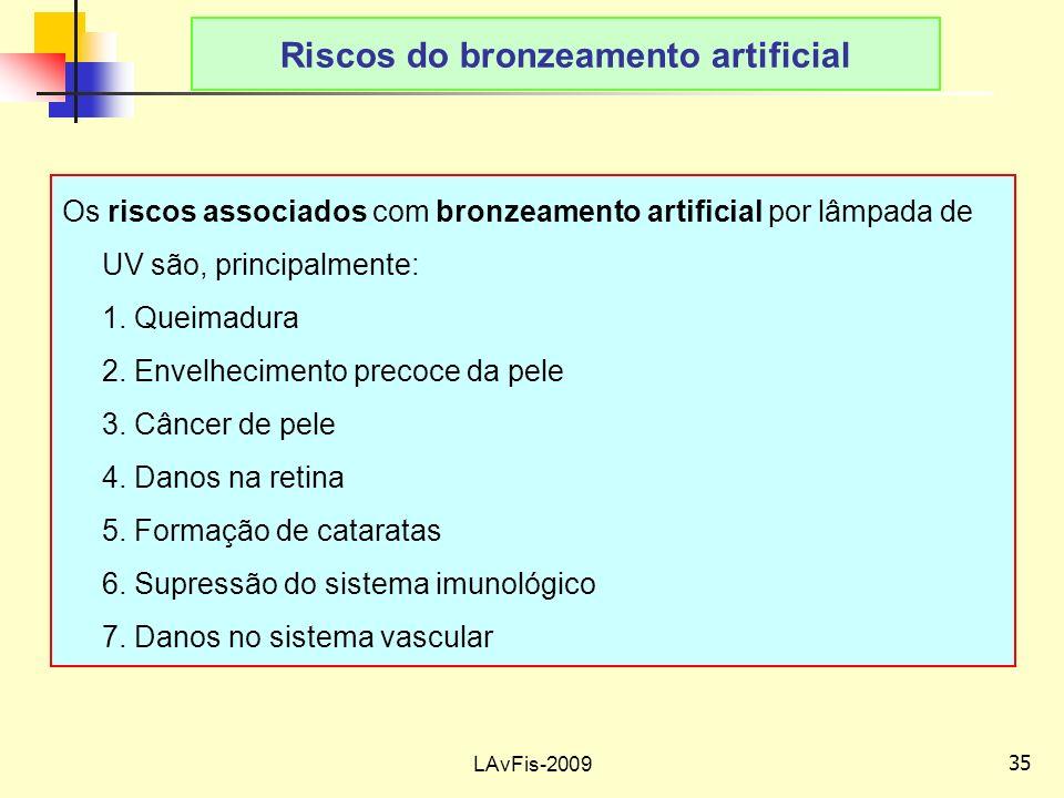 35 LAvFis-2009 Riscos do bronzeamento artificial Os riscos associados com bronzeamento artificial por lâmpada de UV são, principalmente: 1.