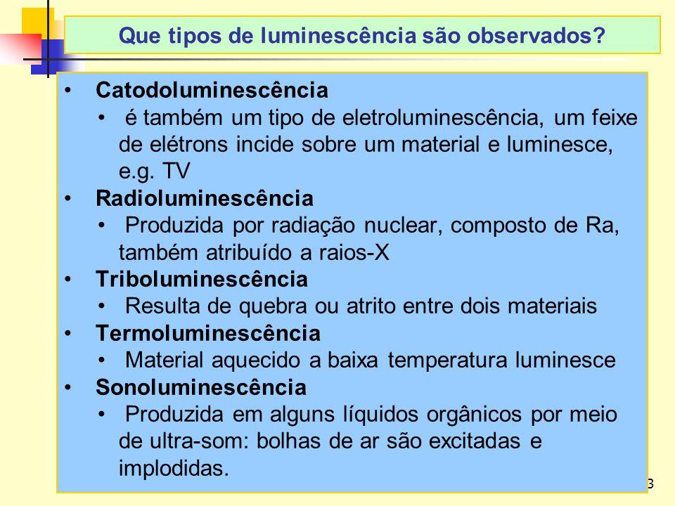 43 LAvFis-2009 Catodoluminescência é também um tipo de eletroluminescência, um feixe de elétrons incide sobre um material e luminesce, e.g.