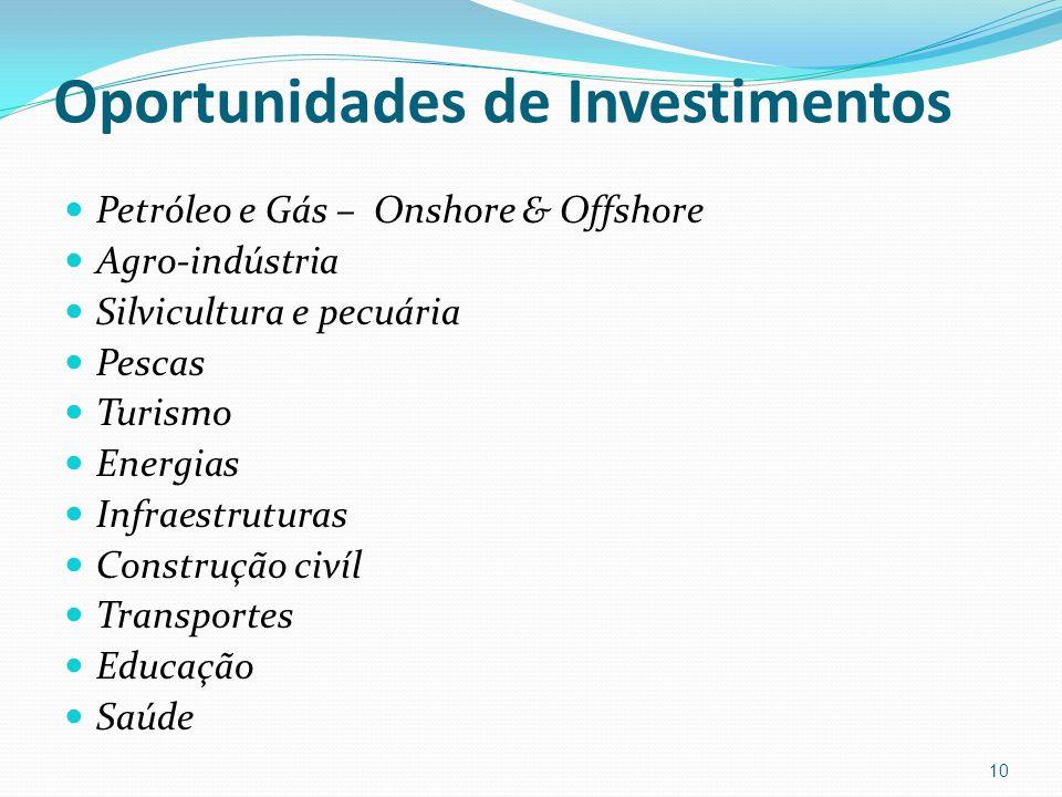 Oportunidades de Investimentos Petróleo e Gás – Onshore & Offshore Agro-indústria Silvicultura e pecuária Pescas Turismo Energias Infraestruturas Cons
