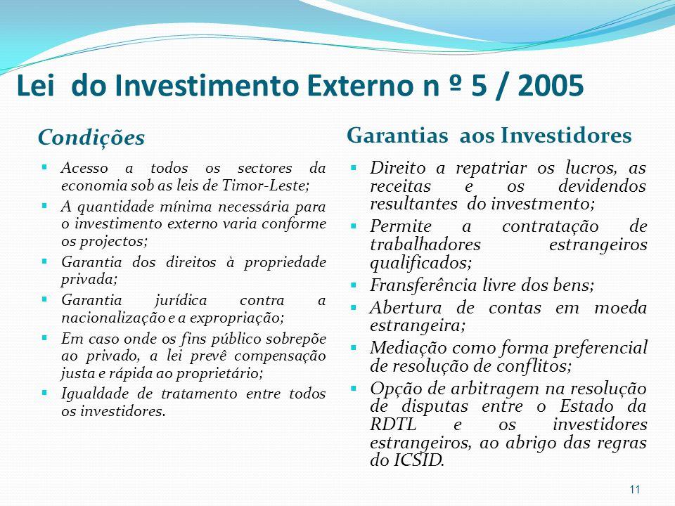 Lei do Investimento Externo n º 5 / 2005 Condições Garantias aos Investidores Acesso a todos os sectores da economia sob as leis de Timor-Leste; A qua