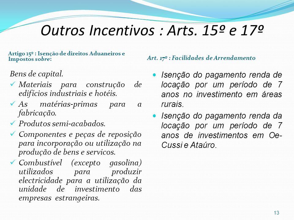 Artigo 15º : Isenção de direitos Aduaneiros e Impostos sobre: Art. 17º : Facilidades de Arrendamento Bens de capital. Materiais para construção de edi