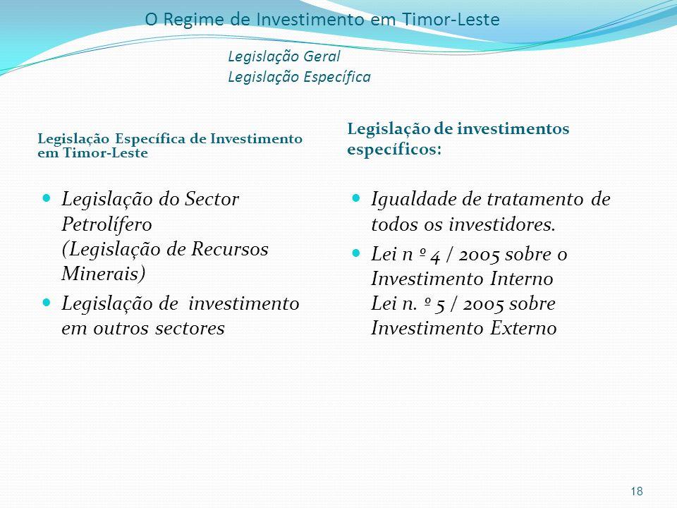O Regime de Investimento em Timor-Leste Legislação Geral Legislação Específica Legislação Específica de Investimento em Timor-Leste Legislação de inve