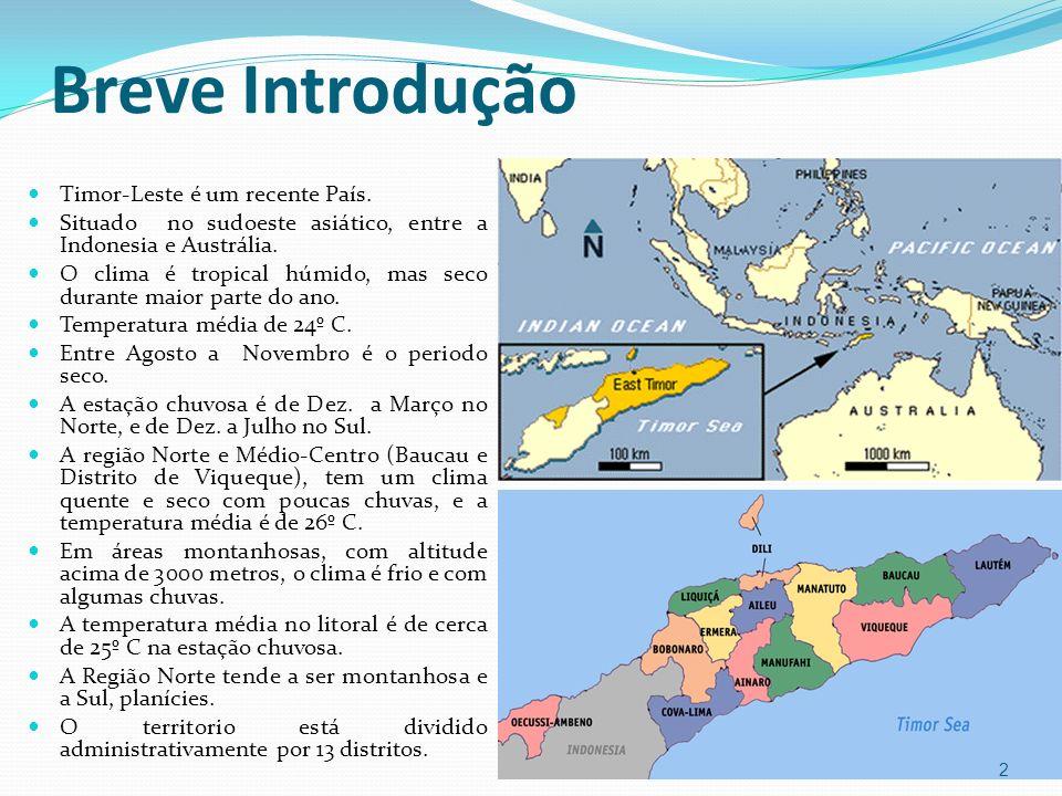 Breve Introdução Timor-Leste é um recente País. Situado no sudoeste asiático, entre a Indonesia e Austrália. O clima é tropical húmido, mas seco duran
