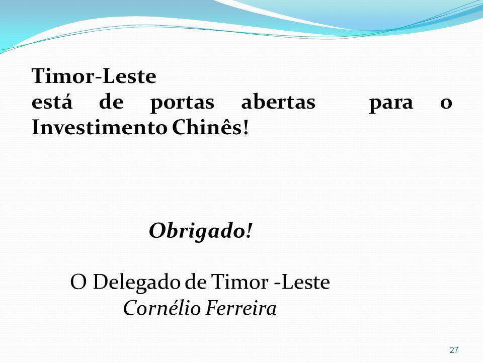 Obrigado O Delegado de Timor Leste Cornélio Ferreira 27 Timor-Leste está de portas abertas para o Investimento Chinês! Obrigado! O Delegado de Timor -