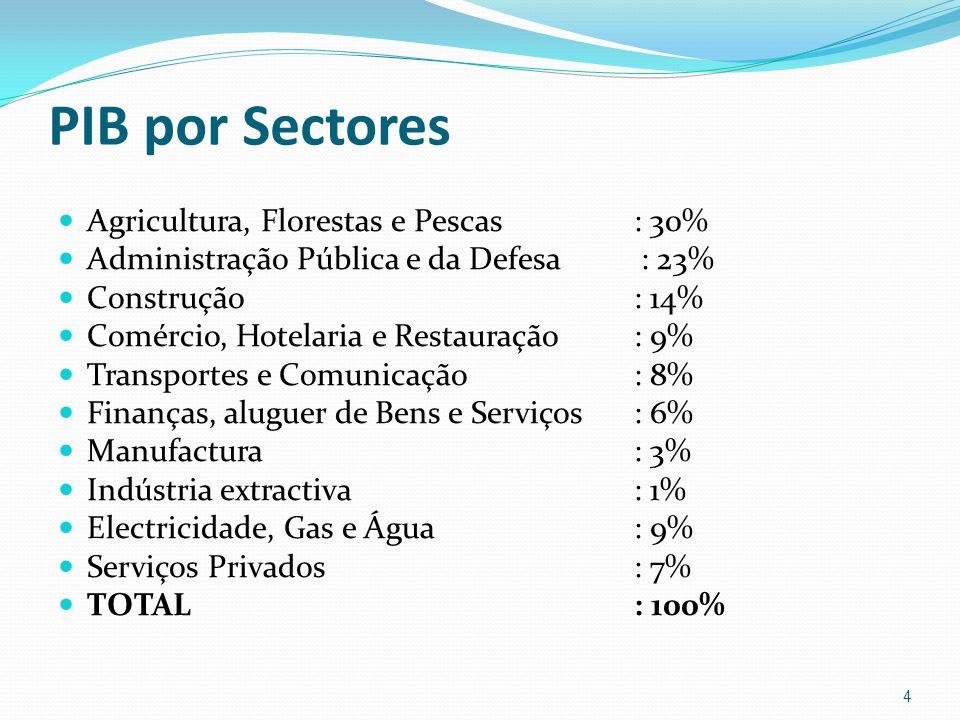 PIB por Sectores Agricultura, Florestas e Pescas : 30% Administração Pública e da Defesa : 23% Construção: 14% Comércio, Hotelaria e Restauração: 9% T