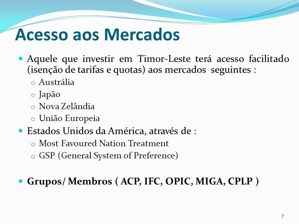 O Regime de Investimento em Timor-Leste Legislação Geral Legislação Específica Legislação Específica de Investimento em Timor-Leste Legislação de investimentos específicos: Legislação do Sector Petrolífero (Legislação de Recursos Minerais) Legislação de investimento em outros sectores Igualdade de tratamento de todos os investidores.
