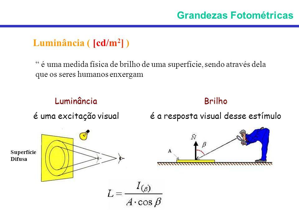 Luminância ( [cd/m 2 ] ) é uma medida física de brilho de uma superfície, sendo através dela que os seres humanos enxergam Luminância é uma excitação
