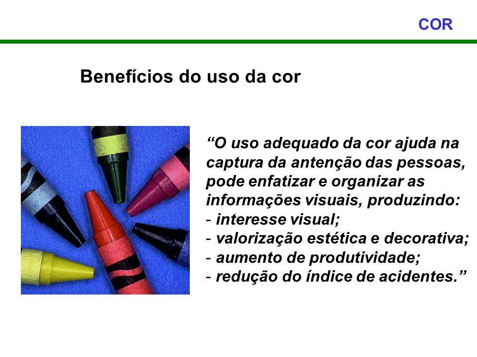 Benefícios do uso da cor COR O uso adequado da cor ajuda na captura da antenção das pessoas, pode enfatizar e organizar as informações visuais, produz