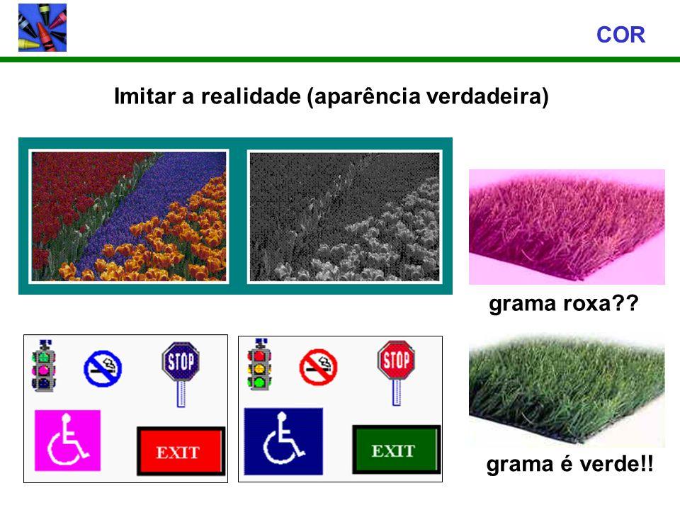 Imitar a realidade (aparência verdadeira) COR grama roxa?? grama é verde!!
