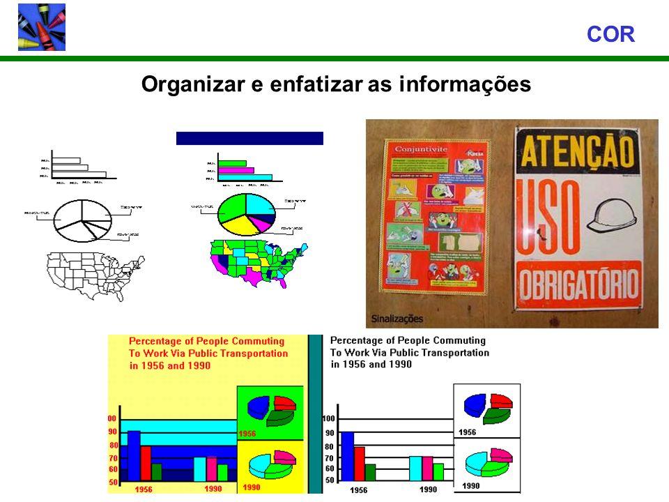 Organizar e enfatizar as informações COR